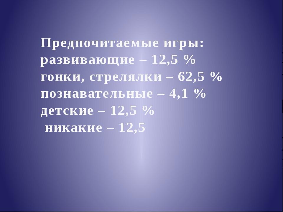 Предпочитаемые игры: развивающие – 12,5 % гонки, стрелялки – 62,5 % познавате...