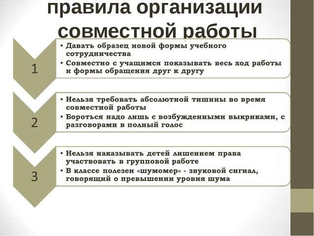 правила организации совместной работы