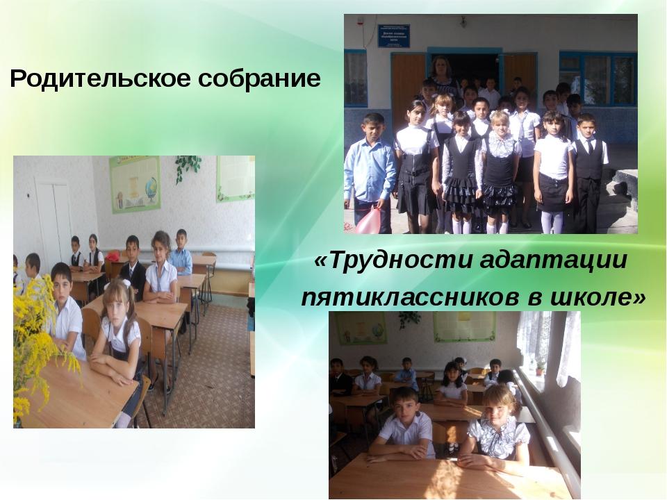 Родительское собрание Тема: «Трудности адаптации пятиклассников в школе»