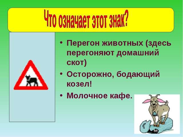 Перегон животных (здесь перегоняют домашний скот) Осторожно, бодающий козел!...