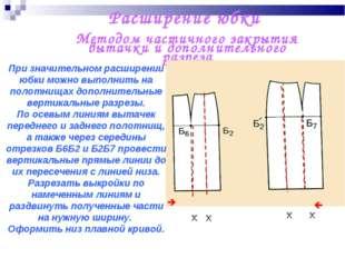 Расширение юбки Методом частичного закрытия вытачки и дополнительного разреза