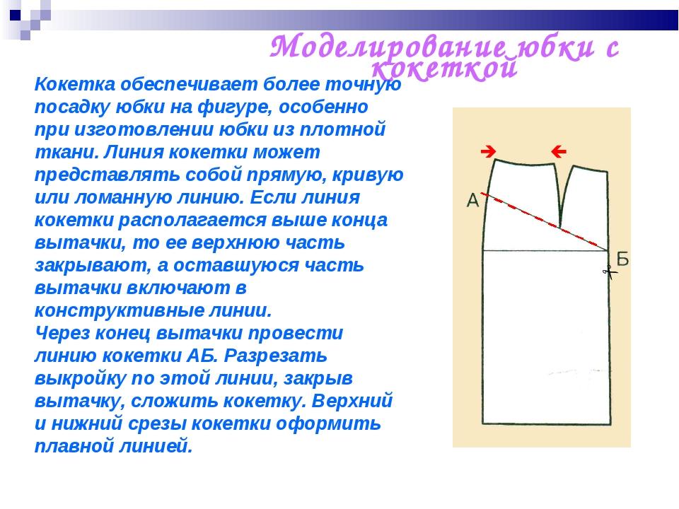 Моделирование юбки с кокеткой    Кокетка обеспечивает более точную посадку...