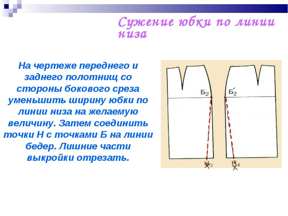 Сужение юбки по линии низа   На чертеже переднего и заднего полотнищ со сто...
