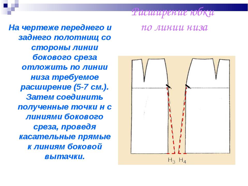 Расширение юбки по линии низа   На чертеже переднего и заднего полотнищ со...