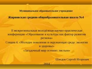 Муниципальное образовательное учреждение Жирновская средняя общеобразователь