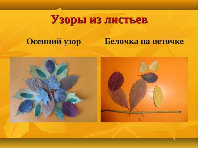 Узоры из листьев Осенний узор Белочка на веточке