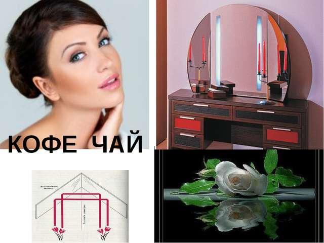КОФЕ ЧАЙ Зеркальная симметрия меняет расположение: зеркало напротив - меняет...