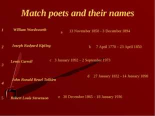 Match poets and their names 4 3 2 1 Lewis Carroll Robert Louis Stevenson John