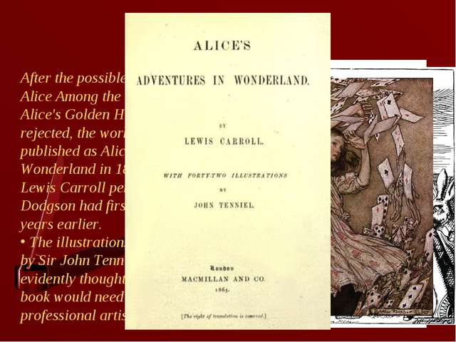 Alice After the possible alternative titles Alice Among the Fairies and Alice...