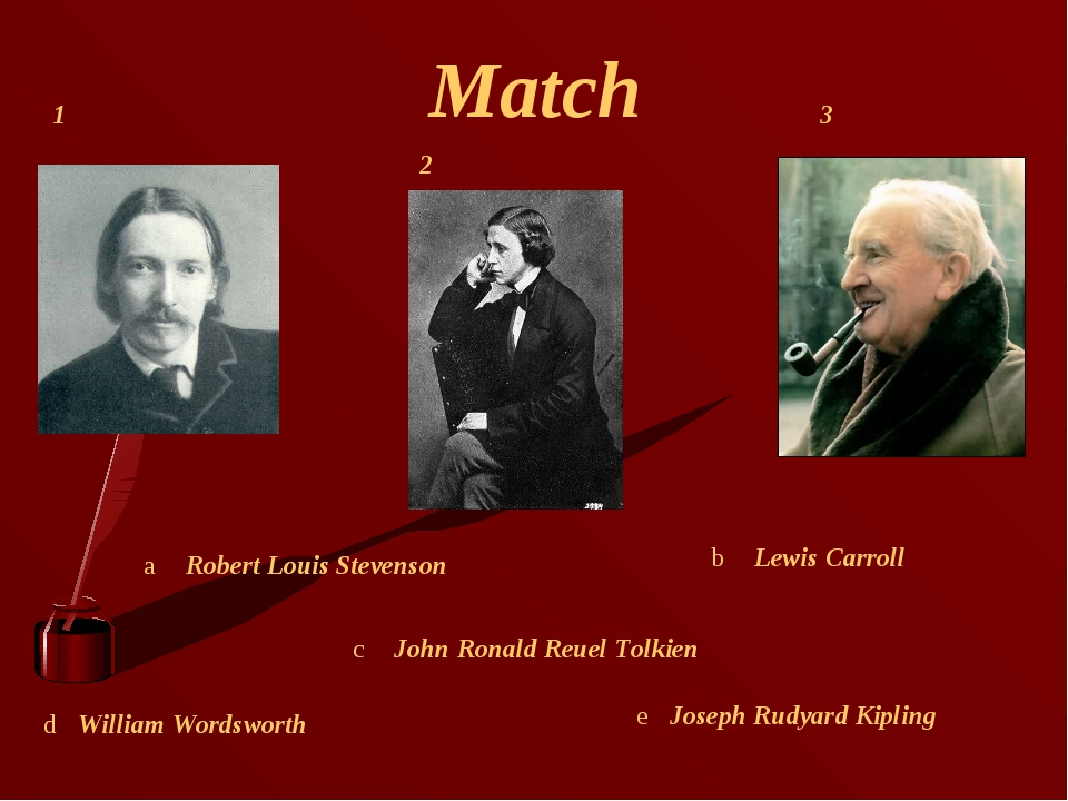 Match William Wordsworth Robert Louis Stevenson John Ronald Reuel Tolkien Lew...
