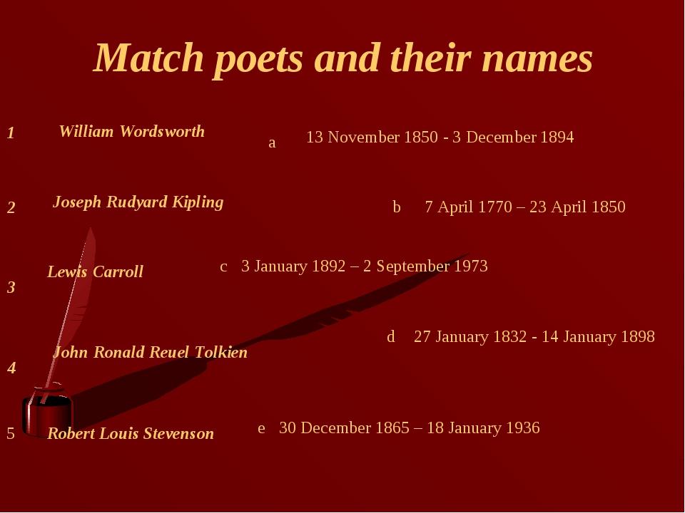 Match poets and their names 4 3 2 1 Lewis Carroll Robert Louis Stevenson John...