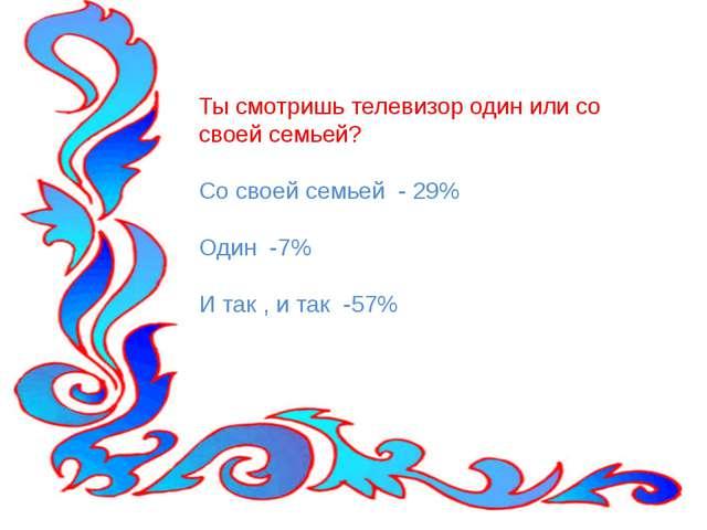 Ты смотришь телевизор один или со своей семьей? Со своей семьей - 29% Один -7...