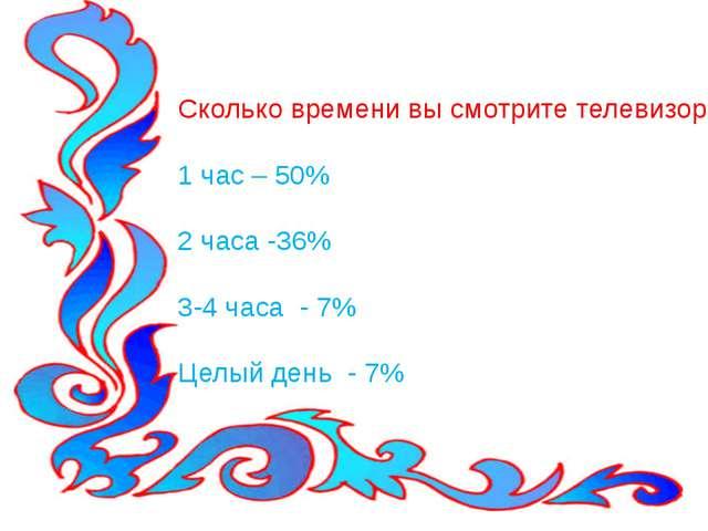 Сколько времени вы смотрите телевизор? 1 час – 50% 2 часа -36% 3-4 часа - 7%...