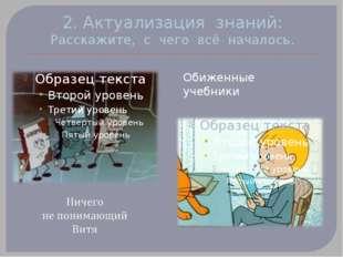 2. Актуализация знаний: Расскажите, с чего всё началось. Обиженные учебники