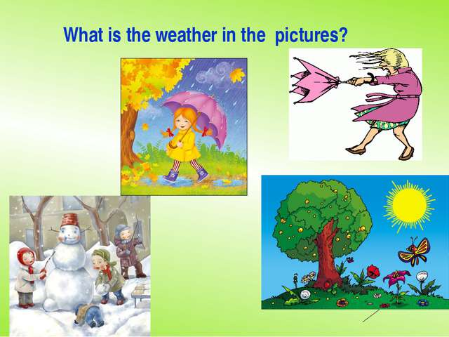 What is the weather in the pictures?