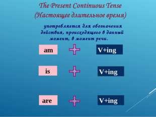am is are V+ing V+ing V+ing употребляется для обозначения действия, происход