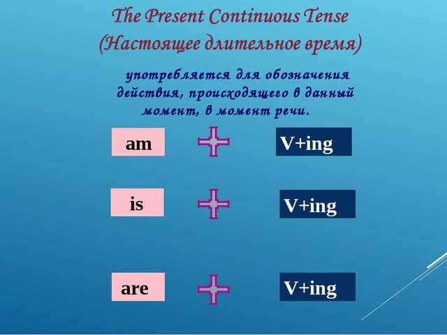 am is are V+ing V+ing V+ing употребляется для обозначения действия, происход...