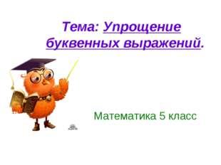 Математика 5 класс Тема: Упрощение буквенных выражений.