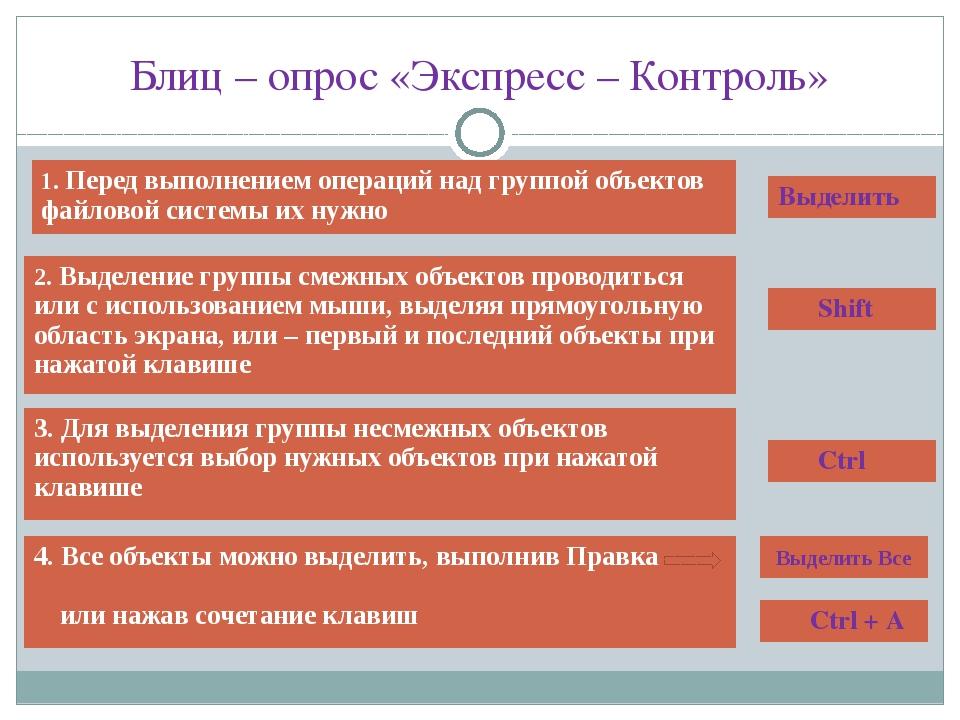 Блиц – опрос «Экспресс – Контроль» 1.Перед выполнением операций над группой о...