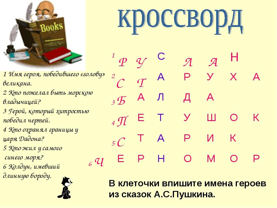 В клеточки впишите имена героев из сказок А.С.Пушкина. 1 Имя героя, победивше...