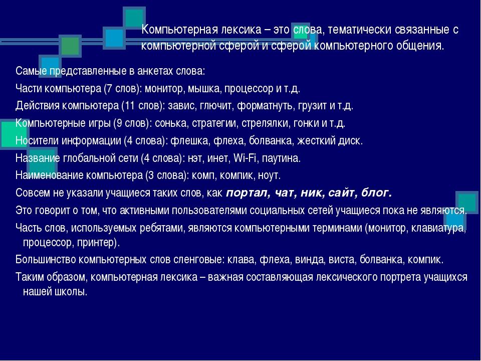 Компьютерная лексика – это слова, тематически связанные с компьютерной сферой...