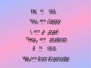 . He ... old. You ... happy. I ... a pupil. They ... students. It ... nice. W