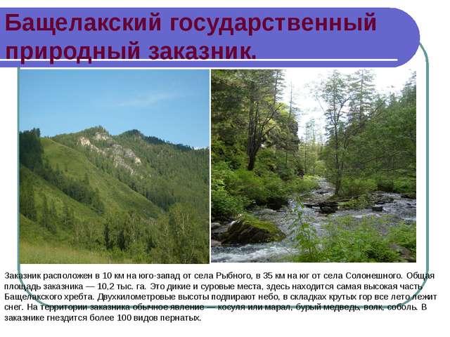 Бащелакский государственный природный заказник. Заказник расположен в 10 км н...