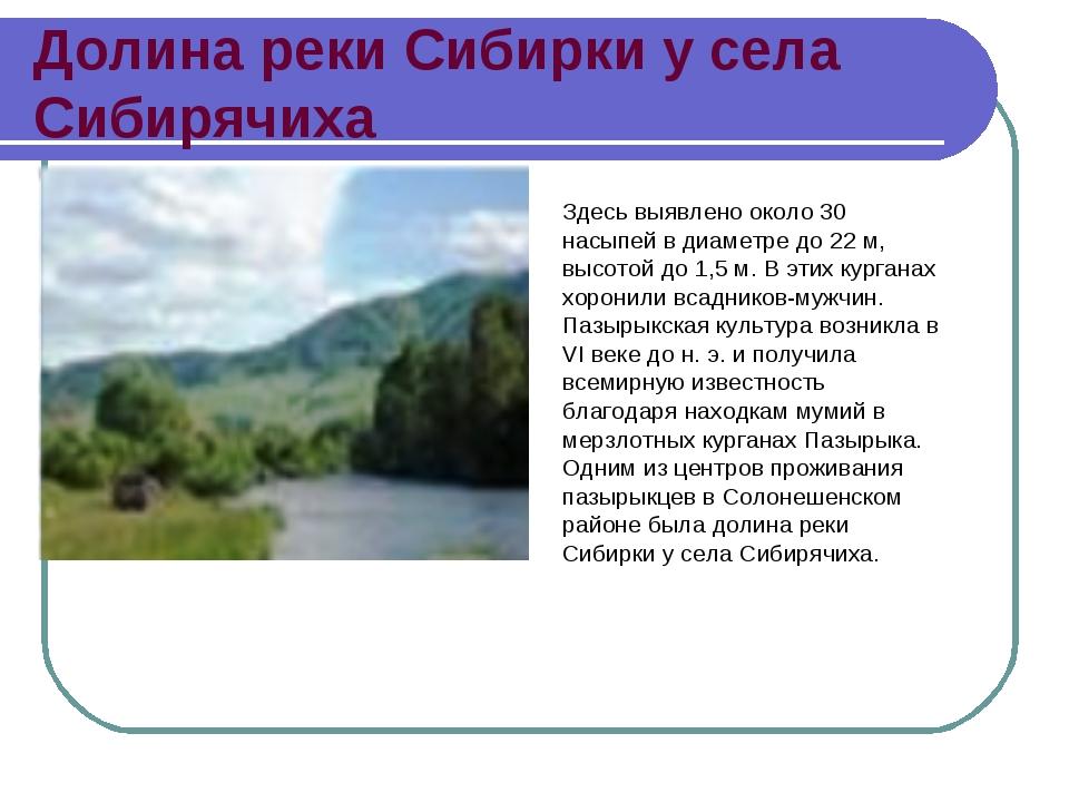 Долина реки Сибирки у села Сибирячиха Здесь выявлено около 30 насыпей в диаме...