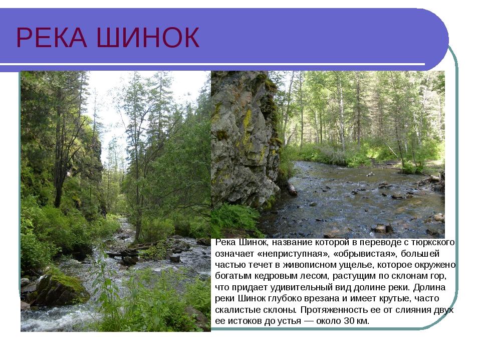 РЕКА ШИНОК Река Шинок, название которой в переводе с тюркского означает «непр...