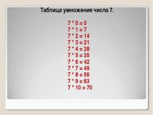 Таблица умножения числа 7. 7 * 0 = 0 7 * 1 = 7 7 * 2 = 14 7 * 3 = 21 7 * 4 =