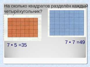 На сколько квадратов разделён каждый четырёхугольник? 7 • 5 =35 7 • 7 =49