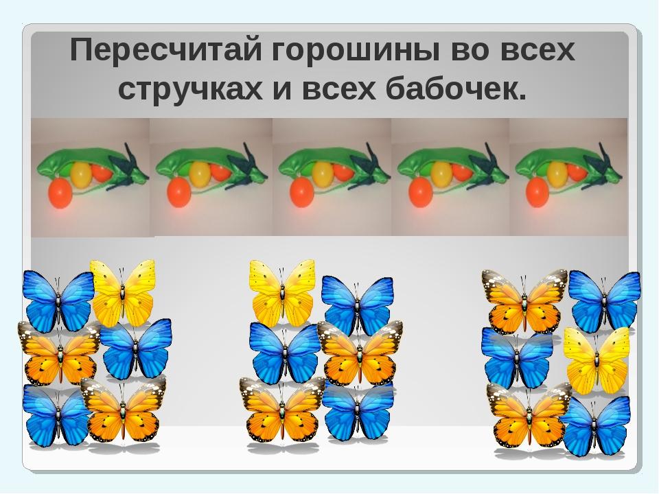 Пересчитай горошины во всех стручках и всех бабочек.