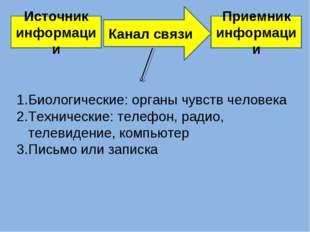 Источник информации Приемник информации Канал связи Биологические: органы чув
