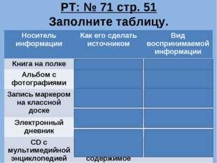 РТ: № 71 стр. 51 Заполните таблицу. Носитель информацииКак его сделать источ