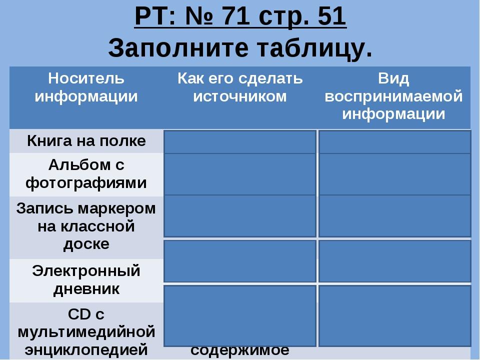 РТ: № 71 стр. 51 Заполните таблицу. Носитель информацииКак его сделать источ...