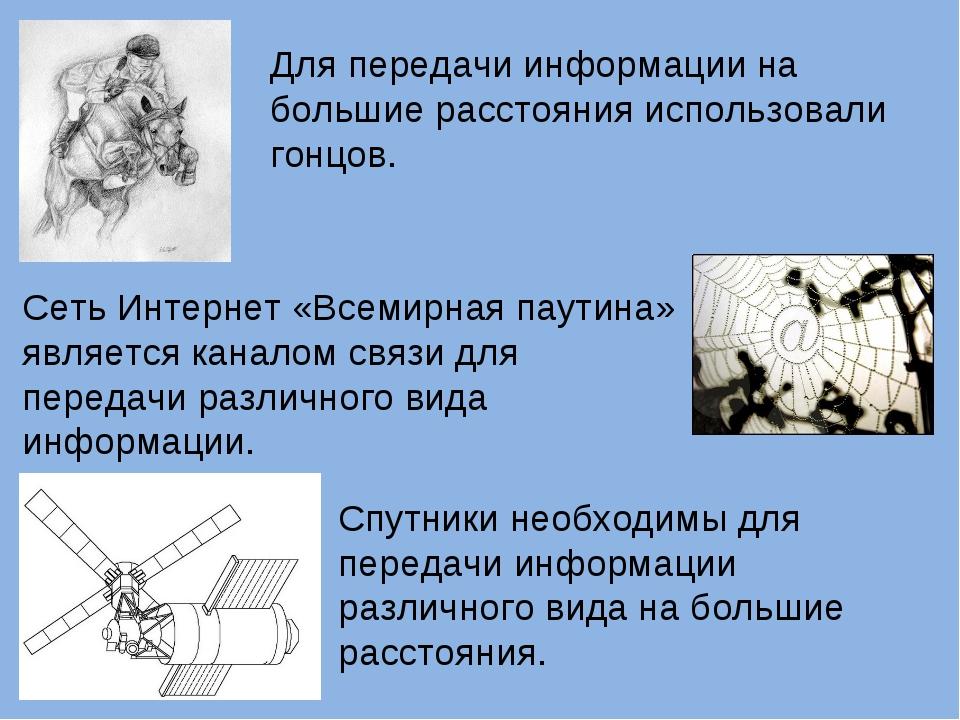 Для передачи информации на большие расстояния использовали гонцов. Сеть Интер...