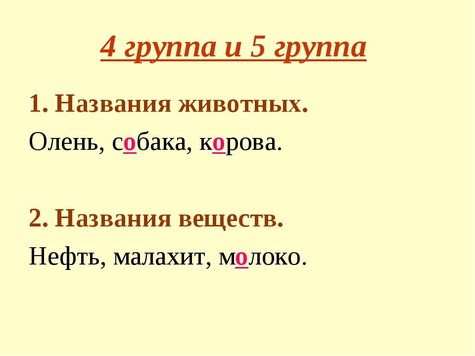 4 группа и 5 группа 1. Названия животных. Олень, собака, корова. 2. Названия...