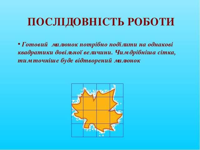 ПОСЛІДОВНІСТЬ РОБОТИ Готовий малюнок потрібно поділити на однакові квадратики...