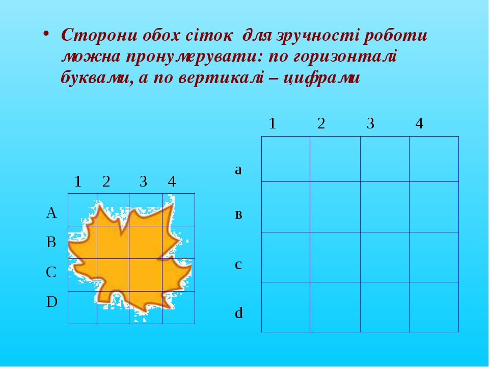 Сторони обох сіток для зручності роботи можна пронумерувати: по горизонталі б...
