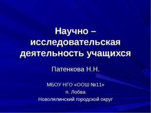 Научно – исследовательская деятельность учащихся Патенкова Н.Н. МБОУ НГО «ООШ