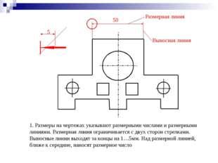 1. Размеры на чертежах указывают размерными числами и размерными линиями. Раз