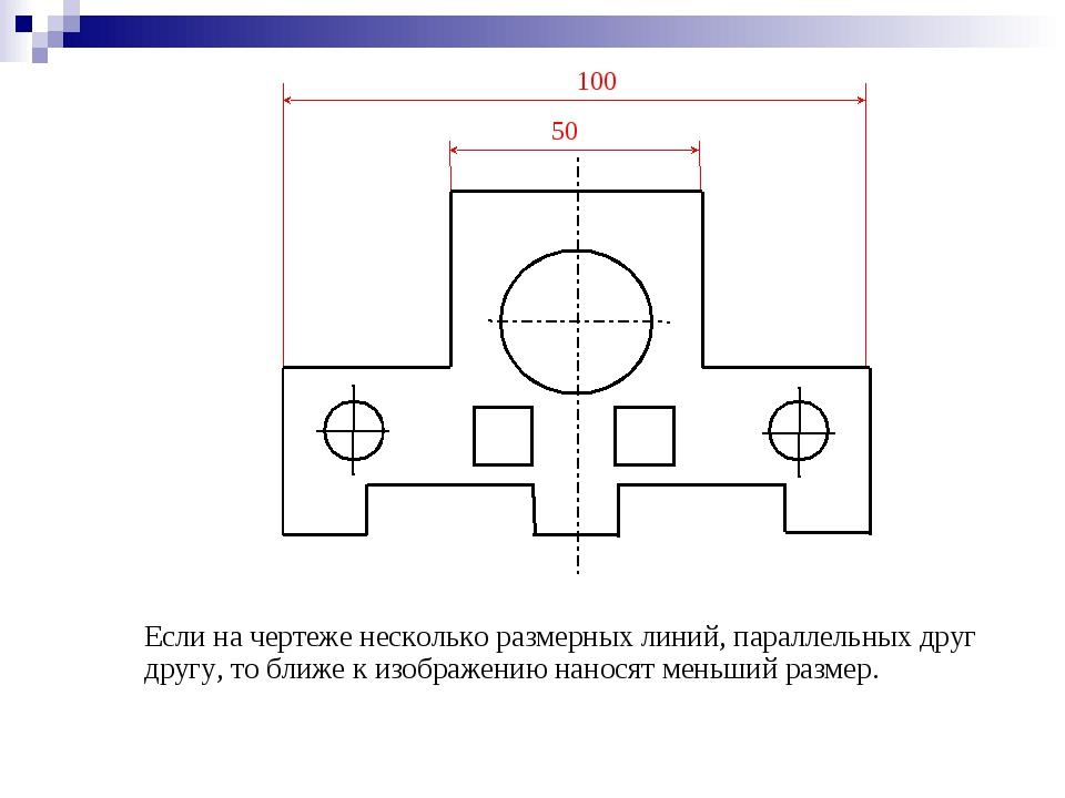Если на чертеже несколько размерных линий, параллельных друг другу, то ближе...
