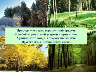 Природа – это дом, украшенный трудом. В любой мороз и зной устроен и приветли