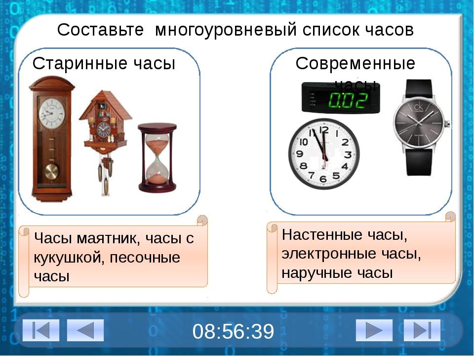 Составьте многоуровневый список часов Старинные часы Современные часы Часы м...