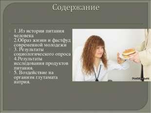 1 .Из истории питания человека 2.Образ жизни и фастфуд современной молодежи 3