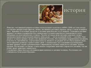 Известно, что пищевой рацион человека эпохи позднего палеолита (40000-12000