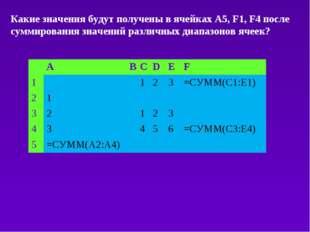 Какие значения будут получены в ячейках А5, F1, F4 после суммирования значени