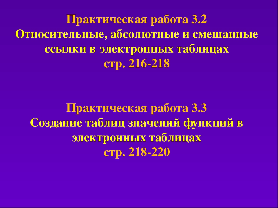 Практическая работа 3.2 Относительные, абсолютные и смешанные ссылки в электр...
