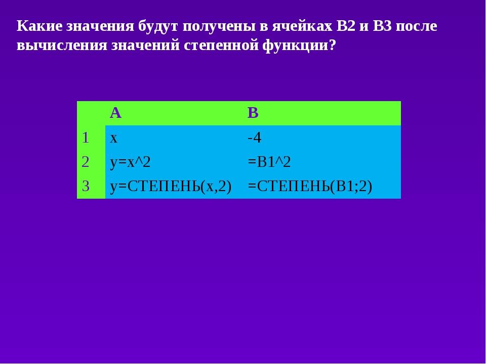 Какие значения будут получены в ячейках B2 и B3 после вычисления значений сте...