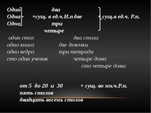 Одиндва Одна +сущ. в ед.ч.И.пдве + сущ.в ед.ч. Р.п. Однотри